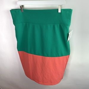 NEW Lularoe 2XL Cassie Colorblock Skirt Green XXL